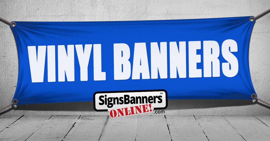 A blue vinyl pvc banner sign on the white wall
