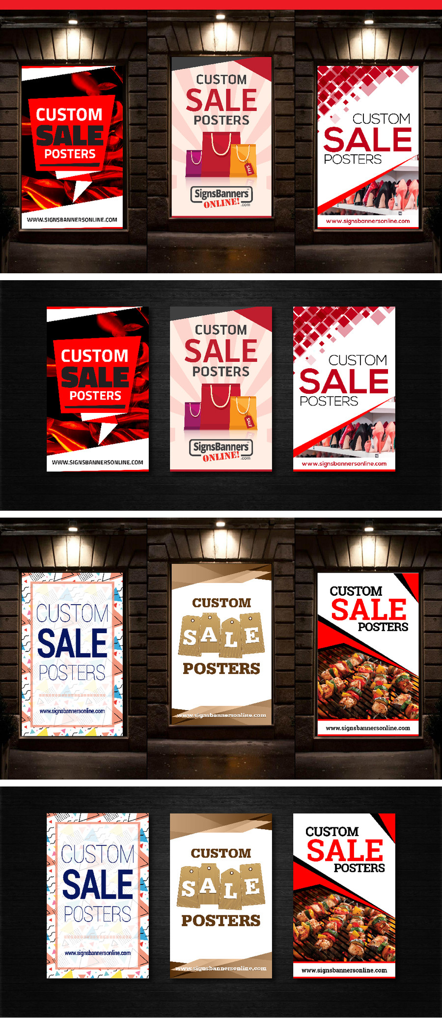 Set of graphic Custom Posters for Window Display with different themes and color choices