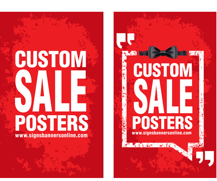 Custom Posters for Window Display Grunge style with chalk board border design on the custom poster idea