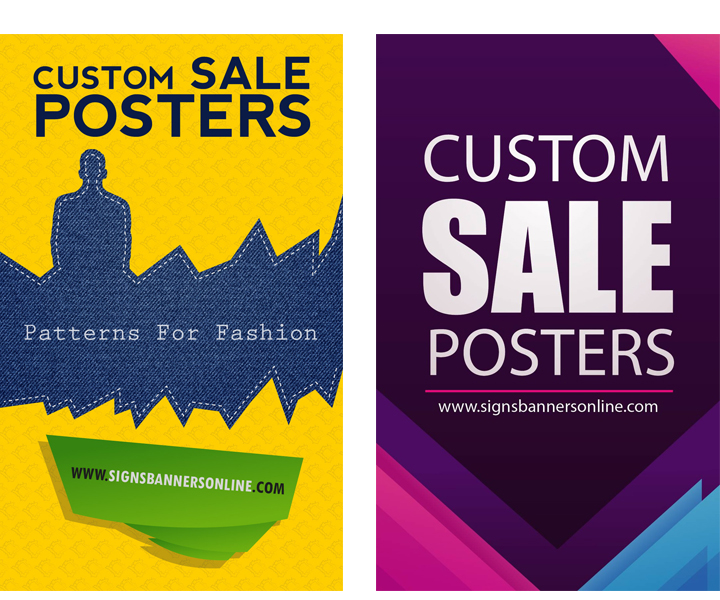 Custom Posters for Window Display Mixing Font sizes and Color diagonals for effect.