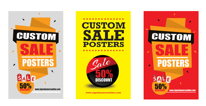 Custom Sale Posters three versions Red Yellow White