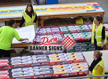 The benefits of being able to custom sew and custom choose colors for sewing the banner signs are an added benefit for customers