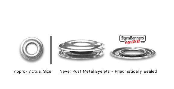 Approx size of the DBNP Nickel plated grommet eyelets which do not rust. Pneumatically sealed cap and washer.