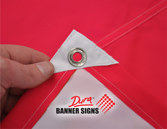 Grommets used on a banner