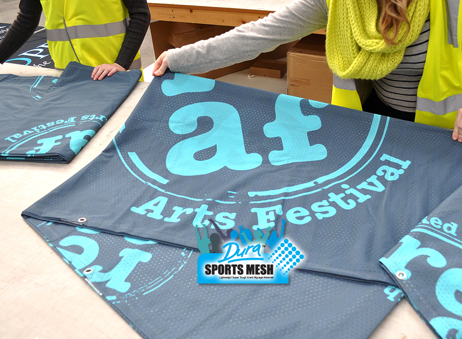 Arts Festival sign banners for covering the perimeter fencing and inside the festival precincts.