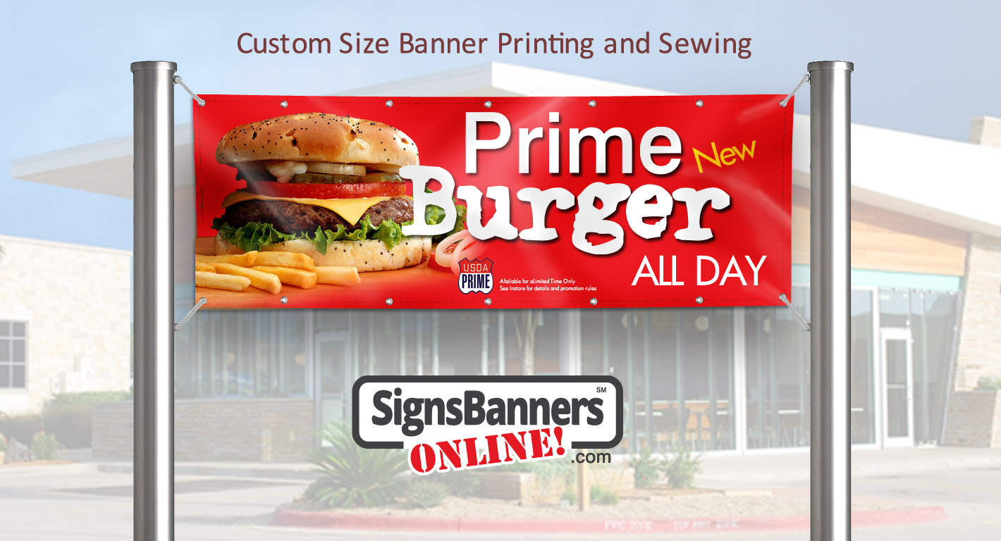Custom size banner printing made to suit between poles