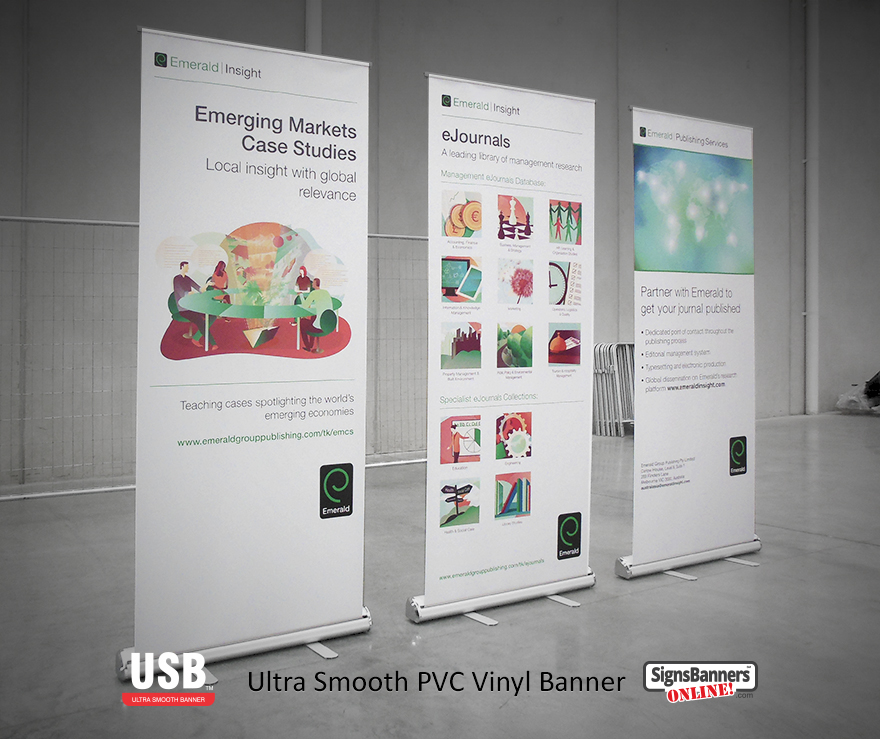 The print quality is amazing on these professional quality cheap banner stands using Ultra Smooth USB banner sign vinyl PVC materials. The advantage is zero curl, excellent print outcomes and top color output.