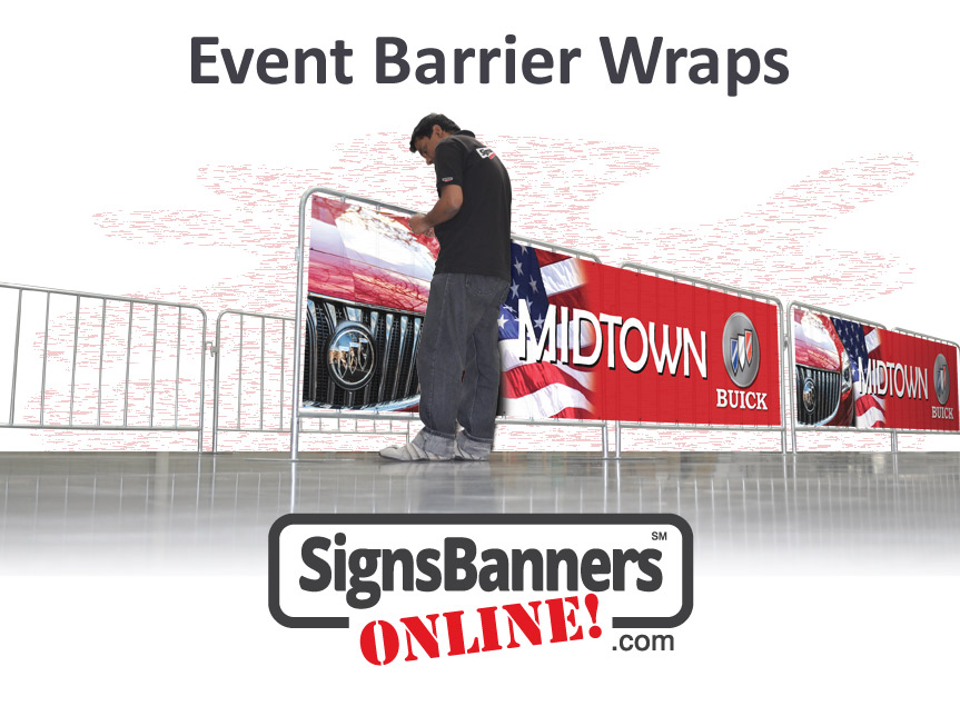Signs Banners Online make expert barrier wraps custom made for your event or barrier hire size. This image depicts installation of a printed crowd barrier sign for the sponsor.