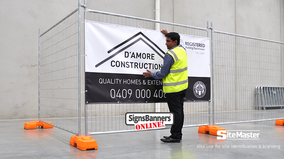 Site and construction companies, large and small use Sitemaster vinyl pvc banner signs for their temp fence hire identification. This banner sign on the fence shows a smaller option for people to choose.