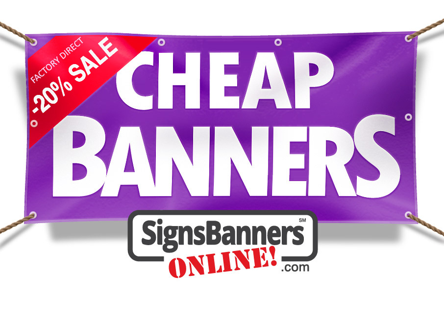 Made cheap banners a purple depiction of a banner sign