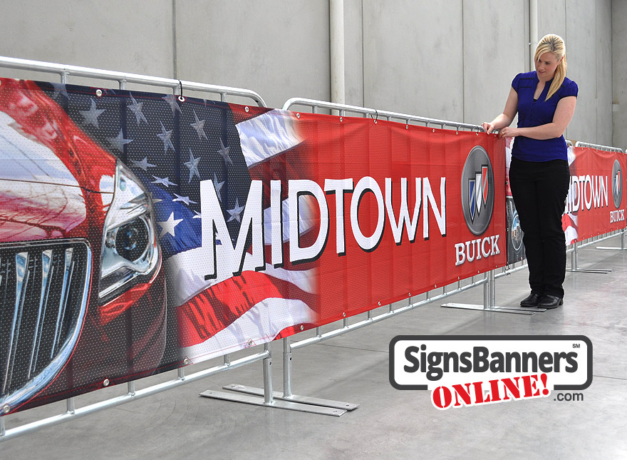 Banner signs ready for the promotional event tied to the short term barriers as used for public attendance, sport event and trade show crowds.