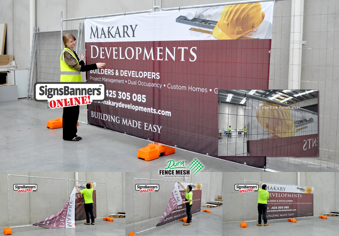 Construction fences are becoming more popular with printed wraps identifying the contractor. Used for advertising purposes.