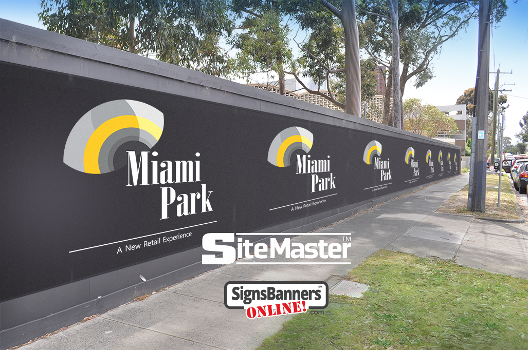 Signs Banners Online provide long span construction hoarding prints with logos and site photos. SiteMaster is a great pvc product for this
