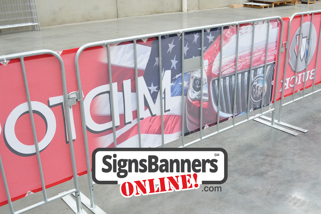 Shows the back view of the continuous barricade rental fence signage tied with zip ties