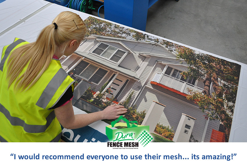 Applying creative designs and prints onto your banner signage mesh for outdoor is producing amazing sign results as shown by this crisply printed banner sign for advertising new homes and real estate.