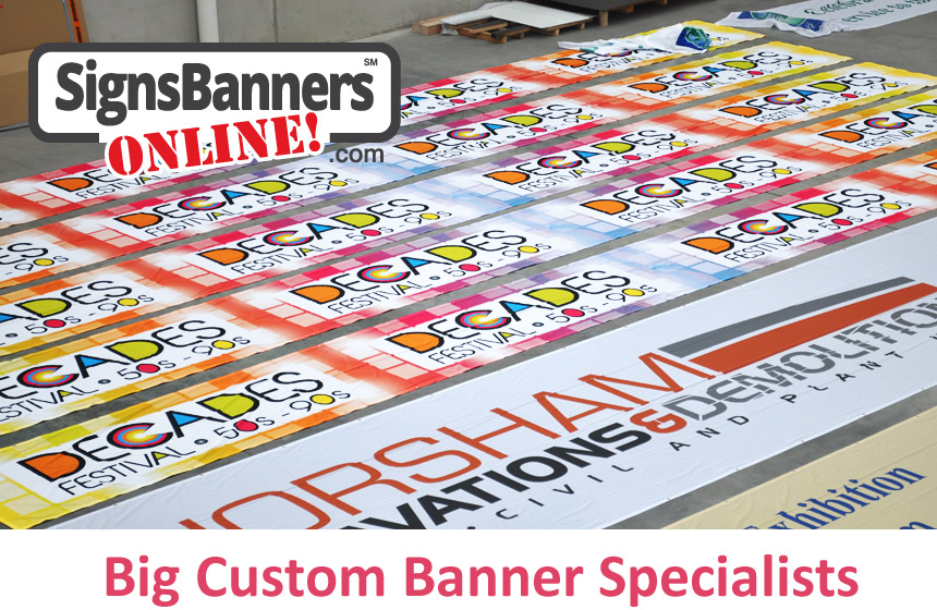 Big custom banner specialists, Signs Banners Online supply many companies with printed custom made and large big size banner signage prints.