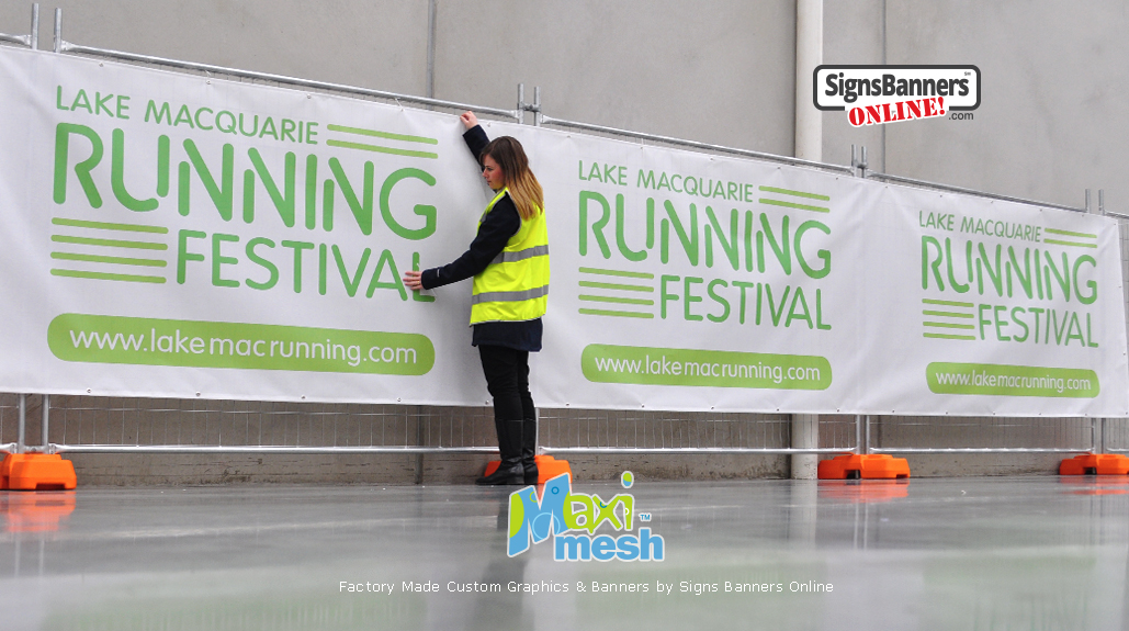 Maxi-Mesh is ideally suited to be used on event signage fence and management promotion.