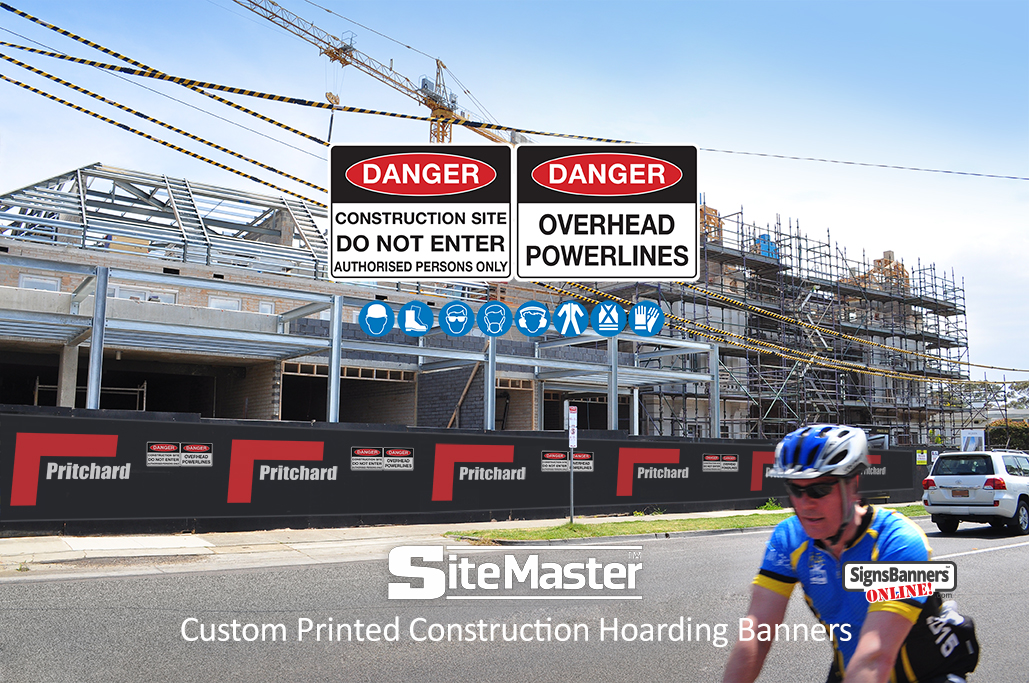 Custom printed plywood hoarding banners fitted to the construction site with custom safe working logos, danger overhead wires powerlines and blue safety insignia logos