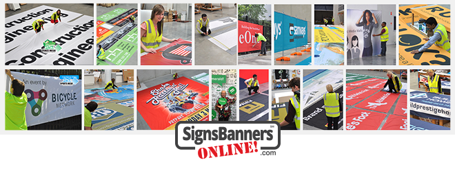 Montage of custom size banners and signs