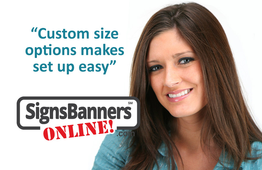 Custom sizes makes set up easy, graphic designer using the free online technique to create custom banner set files