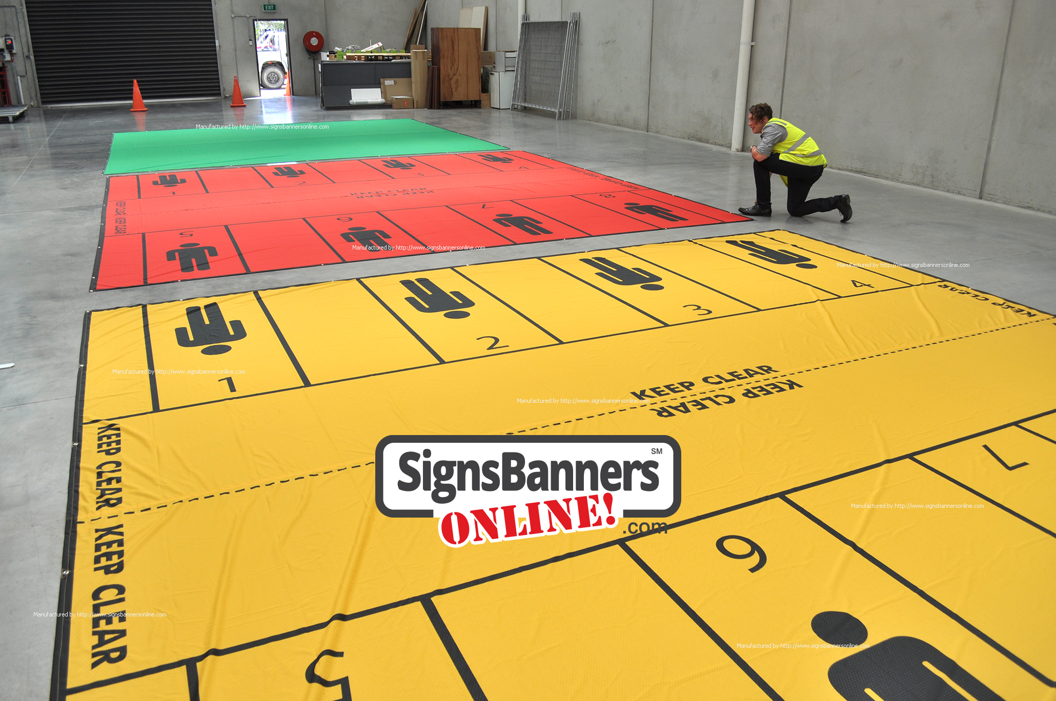 Emergency Training - MEDIC USA. Shows the PERSON symbol silhoutte laid out on the floor for positioning of medical teams with sufficient space to move and operate. Ideal for triage training and sitations of emergency. These banners signs are manufactured by Signs Banners Online dot com