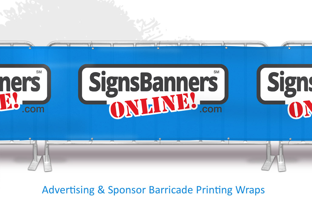Advertising and sponsor barricade printing wraps like these big signs and event wraps that are continuous seamless wraps are becoming common on portable stand fences as used for event sign printing managers.