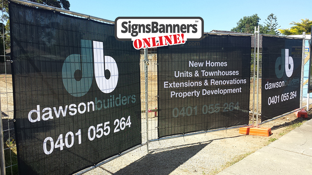 Fitted fence mesh banner printing signs on the gate of the development building land.