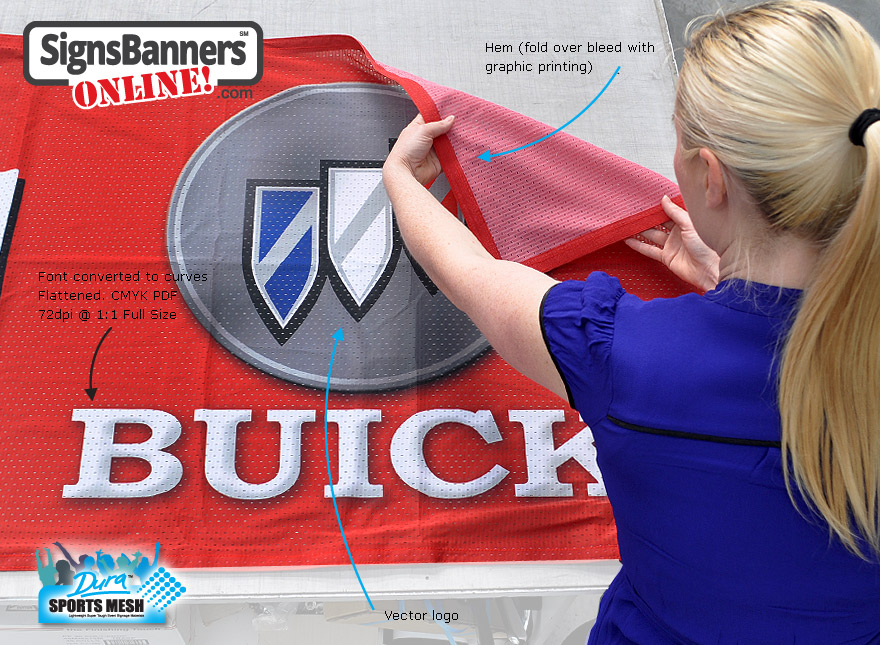 Design your banner signs with fold over bleed. The fonts on this banner sign and logo have been converted to curves, rasterize and flatten save as pdf