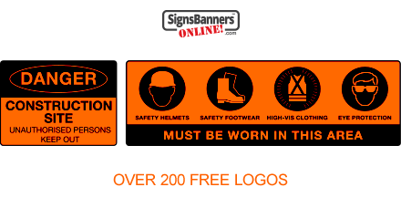 Free construction site logos and safe work logos printed on SILT Fencing wrap