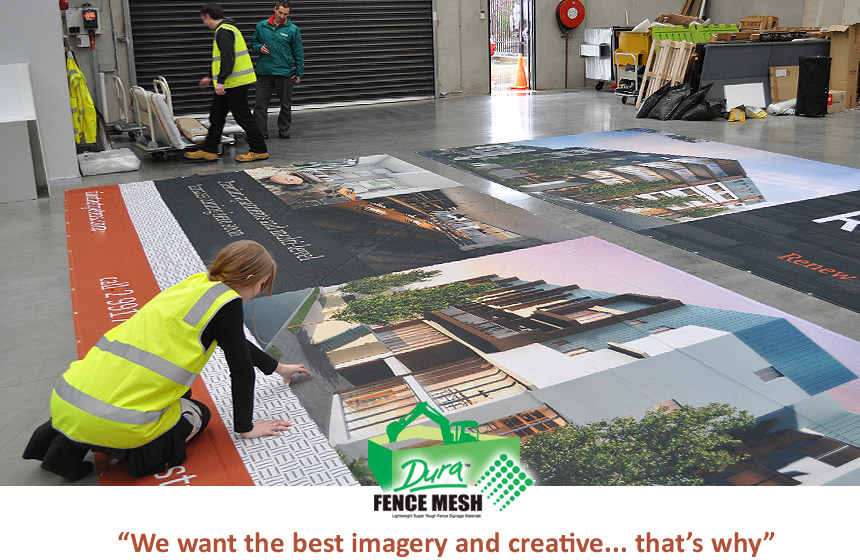 NY Imagery and creative banner signs with definition graphics come alive on DBFM mesh shade netting style prints.