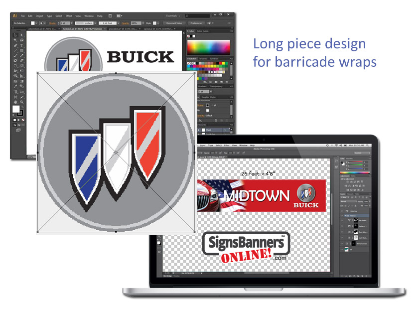 When considering designing barrier and barricade wraps use long pieces. Put high resolution logos and designs inside your banner sign printing files and templates.