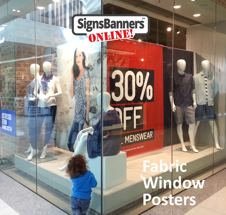 Mall and store posters for large hanging displays inside shopping window displays