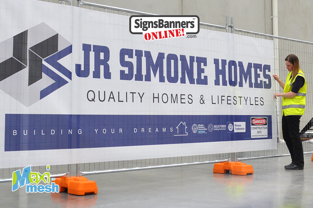 Temporary fencing banner signs by Maxi-Mesh