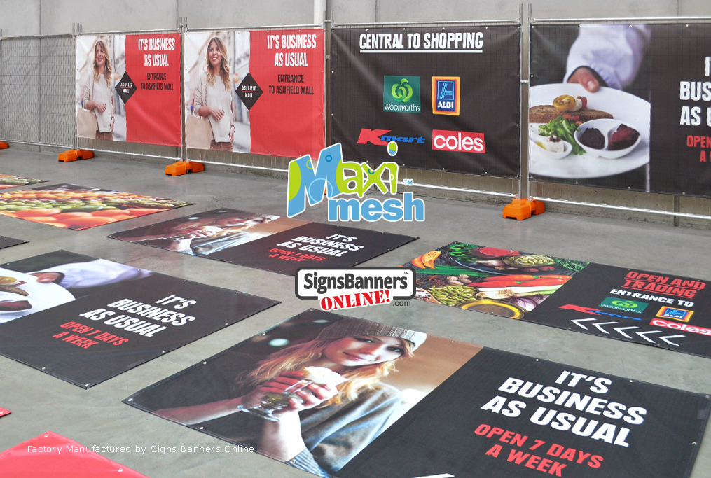 Mesh Banners with printed graphics - looking left