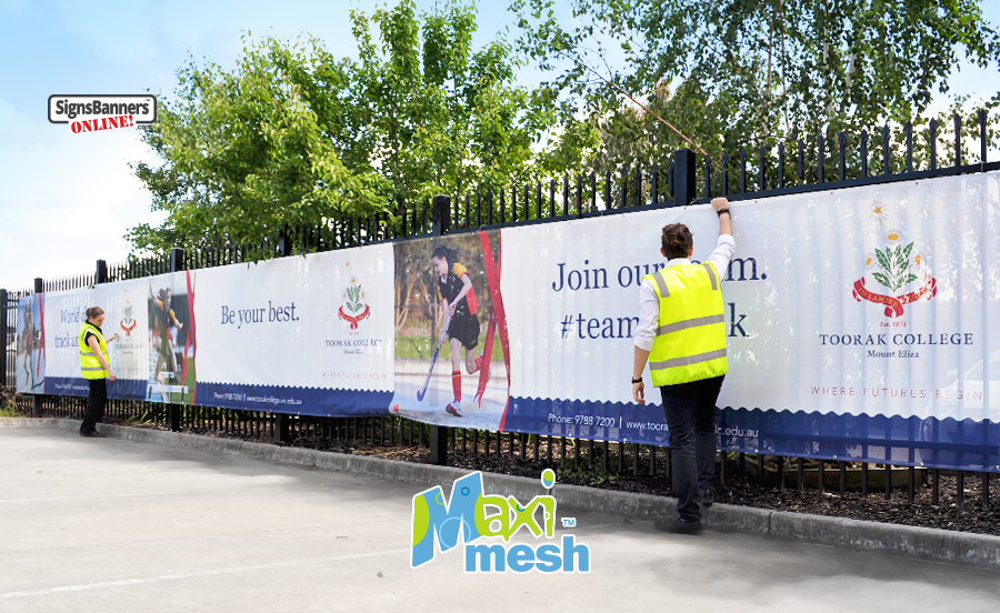 Stunning results are achieve by Signs Banners Online mesh banner printing division using quality products, long life inks and high resolution print outcomes onto Maxi-Mesh printing materials. This sign tied up on a fence is used for outdoor promotional branding.