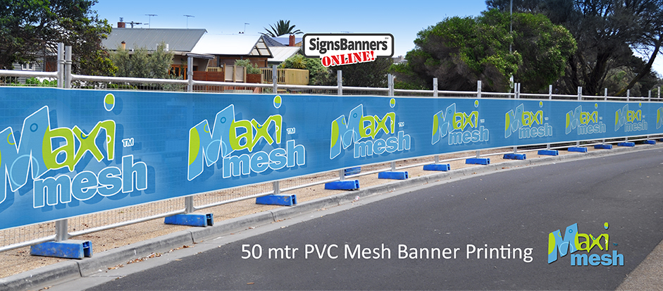 Now available in cheap 50 metre rolls, printed fence site wrap pvc shade cloth style banner signs are here.