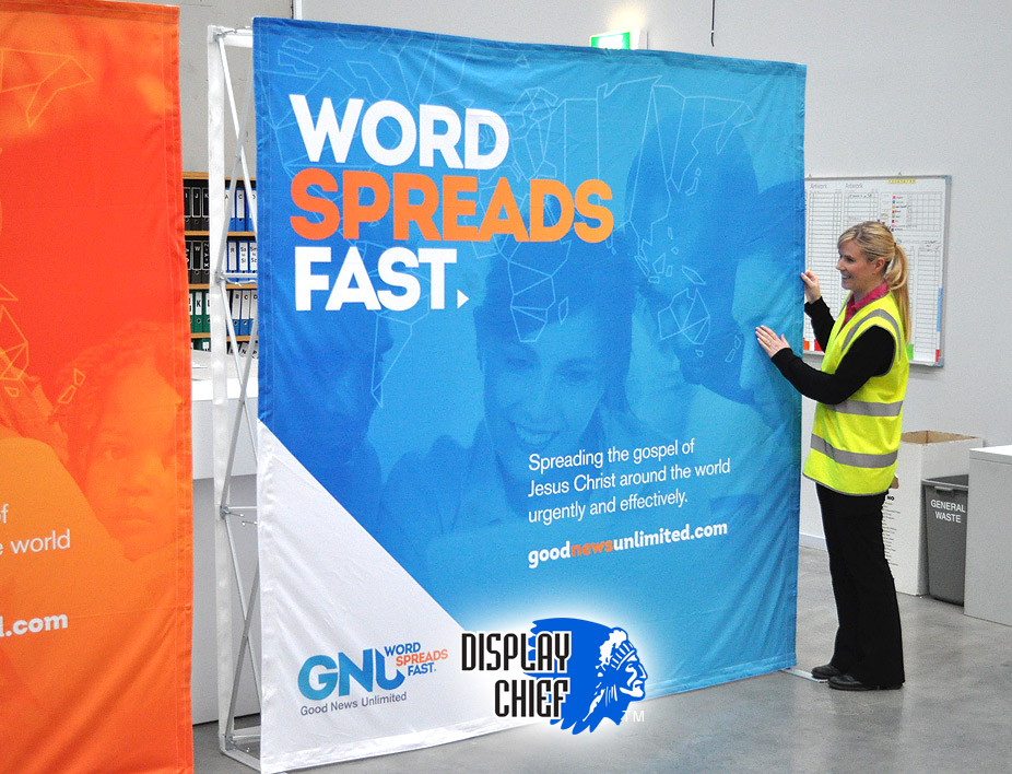 Supplying church and community events with background pop up prints they can swap, pop up and dismantle.