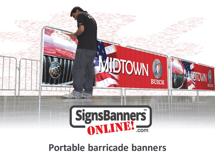Portable barricade as used for events and festivals to block off pedestrian walk with the event sponsor brand on the printed banner sign attached to the barricade by a person.