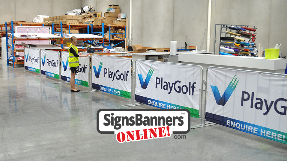 Portable fences with banner signage tied on