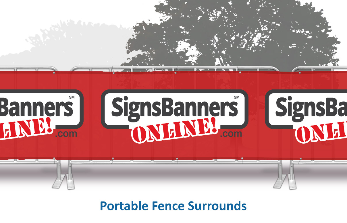 Span your seamless printed advertising event wrap across 2-10 or more metal sections with printed logo sign wrap