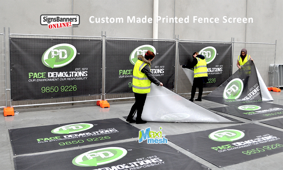 Custom made printed fence screens.