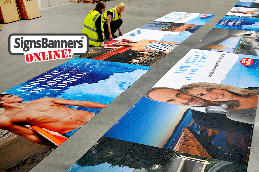 These banners including photos are used outdoors for proposed buildings and advertising new developments California address delivery