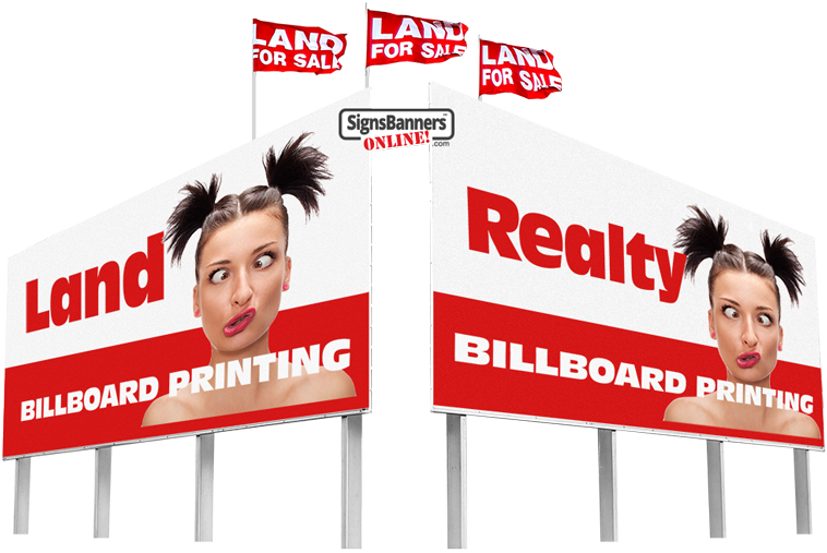 Land and Realty outdoor billboards with flags