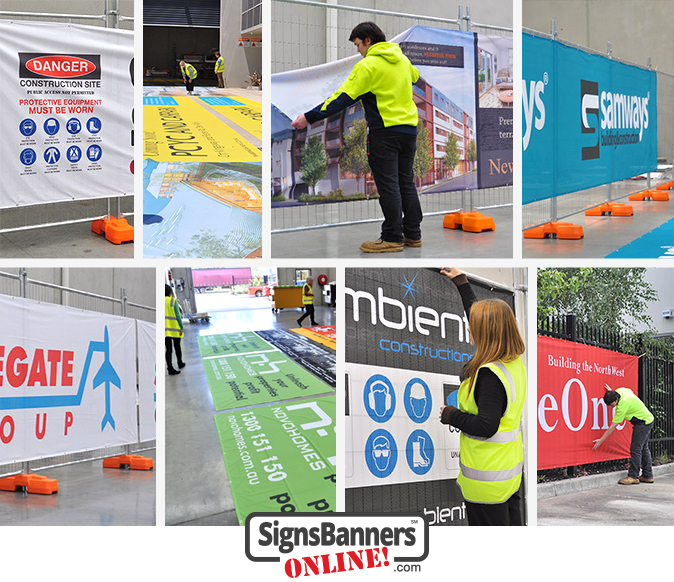 A montage of shade cloth printing in and out the sign print business for mesh direct to user