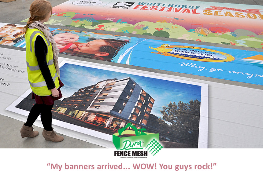 Signage Banners in color on mesh netting style material for printed advertising outdoor