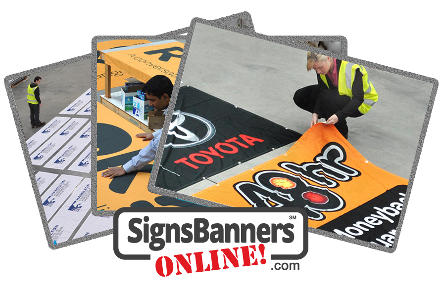 People inspecting the product pre-ship out of the web2print signs and banners plus logo