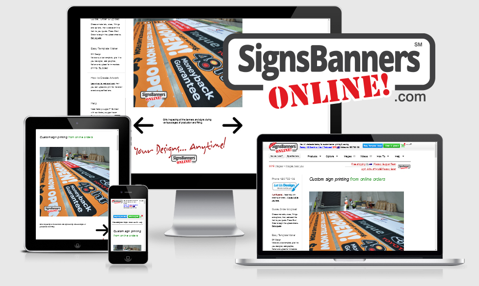 Signs Banners Online new responsive layouts and interactive sign making online services are well received by graphic designers, wholesalers and resellers of custom banner sign products.