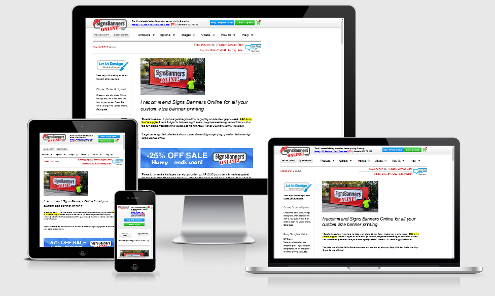 You can view signs banners online on many devices