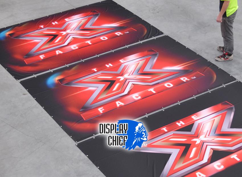 X-Factor Television Production, Supplying major national and international television broadcasters and programs production companies with set and promotion, camera back and perspective view fabric banners for television