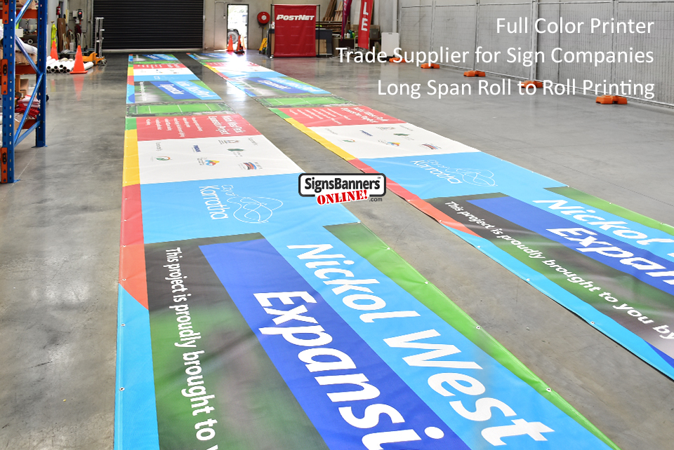 Left view of Long Span Roll to Roll Printing. Genuine Trade Printers.